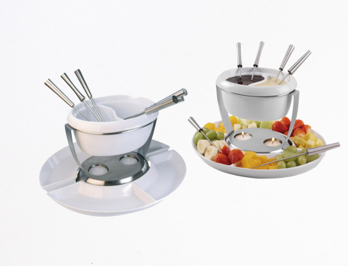 Ceramic 2 Tase Chocolate Fondue Set